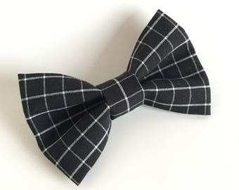Bow Tie , Black Bow Tie, Black with White Grid Lines, Black and White Bow Tie