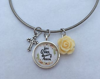 Love Grace Beauty Amen - bangle charm bracelet