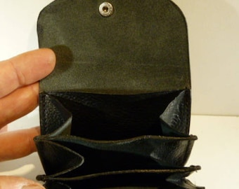 Wallet three compartments in black leather