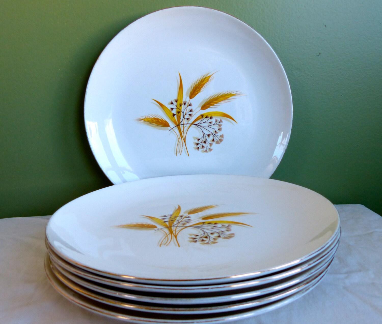 gallery photo ... & Set of 5 Rhythm by Homer Laughlin Dinner Plates-Vintage-Golden Wheat ...
