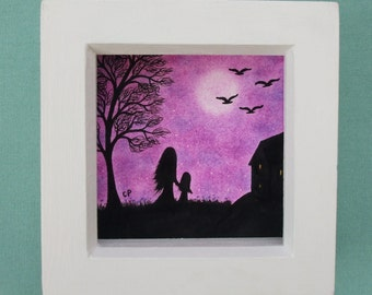 Mother Daughter Art Picture, Mothers Day Gift, Framed Mother Child  Art, Daughter Gift, Purple Drawing, Illustration Tree Silhouette Picture