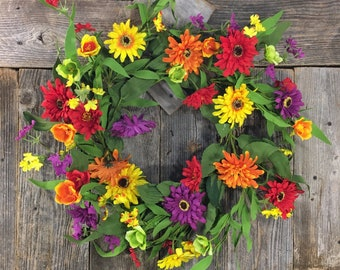 Summer Zinnia Mix Wreath, Door Decor, Mixed Foliage, Artificial