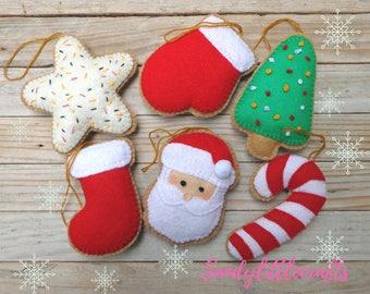 Christmas ornament felt/ Set ornaments/ Felt ornaments/ Christmas ornaments/ Felt christmas tree/ Santa ornament/ Felt christmas decoration.