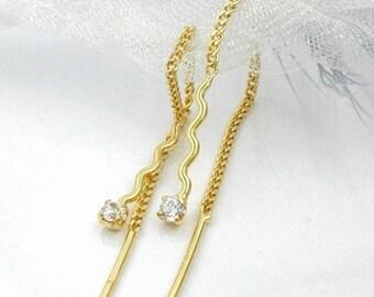 Delicate wave Durchzieher zirconia, 8K GOLD