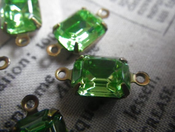 Swarovski Vintage Peridot 10x8mm Glass Octagon Brass Ox ...
