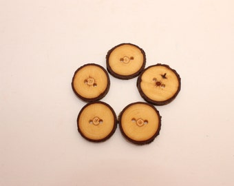 Set of 5  chestnut wooden buttons | 1 -1.4 "