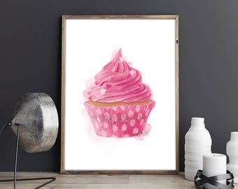 Cupcake Print, Kitchen Decor, Cupcake Painting, Candy Art, Kitchen Wall Art, Living Room Wall Art, Bedroom Wall Art, Candy Print, Candy Art