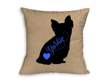 "Blue Yorkie Pillow Cover, Pillow Cover, Yorkie Pillow Cover, 18"" x 18"" Zip Pillow Cover"