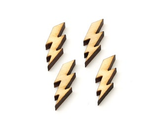 """Lightning Bolt Charms - 1"""" -Electricity Jewelry Finding for Earrings and other Craft DIY . Set of 4 from Timber Green Woods"""