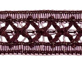 6 Yard Value Pack of Vintage 1.5 Inch (3.8cm) Wide Dusty Mauve, Dark Plum Gimp Braid Trim - Luscious Lavenders 2927 (18 Ft / 6.5m)
