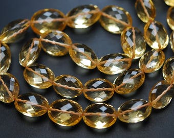 224 Carats,16 Inch Strand,Finest Quality,Natural Citrine Faceted Oval Shape Briolettes,12-16mm size