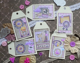 6 labels baby newborn girl Duckling and baby carriage Pink Purple