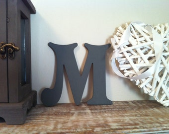 """Wooden Wall Letter 'M' - Any Colour - Plain Finish - Victorian Style - 8"""" - Decorative"""