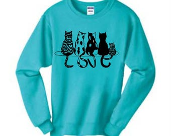Cat Love Sweatshirt, Cat Sweatshirt, Sweatshirt, Animal Sweatshirt, Cat Lover Gift, Cat Lover, Animal Lover Gift, Cats