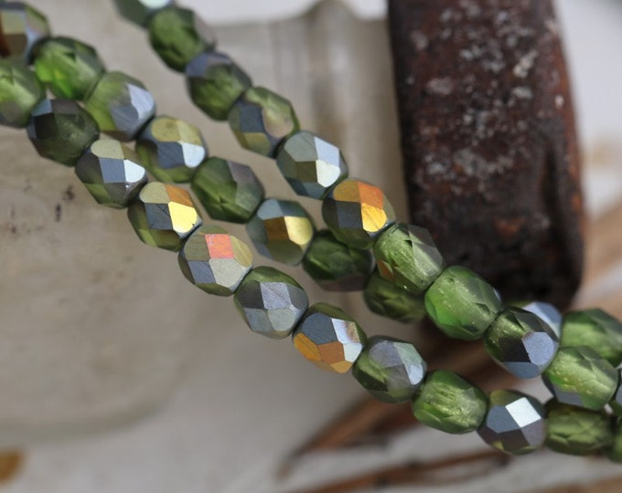 FOREST FROST No. 2 .. 50 Premium Faceted Czech Glass Bead Mix 4mm (5431-st)