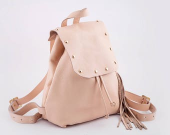 Powder Pink Leather Backpack | Women Leather Rucksack | Backpack Leather | Leather Rucksack | Women Leather Backpack | Purse Women