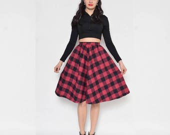 Vintage 80's Full Circle Skirt / Checkered High Waist Midi Skirt - Size Extra Small