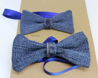 Elegant flies made of upcycletem jeans-fabric for large and small