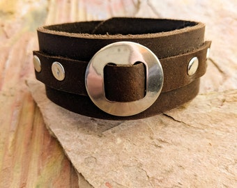 Leather Bracelet Strap Cuff Soft Leather Bracelet Polished Stone Jewelry Leather Cuff Bracelet Womens Leather Wrap Accessory