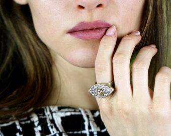 Crystal Evil Eye Ring / Swarovski Crystal Cocktail Ring Plated in 24K Gold / Fully Adjustable