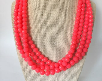 Neon Coral Chunky Statement Necklace