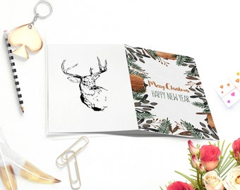 Printable Christmas cards, Happy New Year Cards, Christmas Card,deer card, Greeting cards, holiday card, Merry Christmas, unique cards