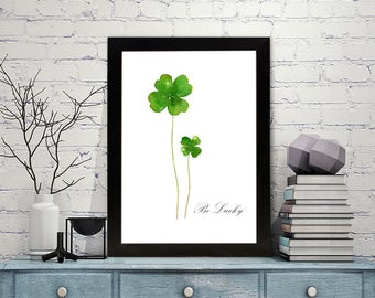 Four Leaf Clover print of watercolour painting, St Patrick's Day, Good luck Shamrock, botanical painting, green home decor