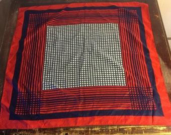 "Retro Patriotic Red,White & Blue Geometric Scarf  27"" Square"