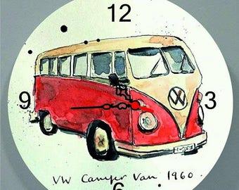 Beetle Wall Clock , VW Bus Wall Clock , Home Decor