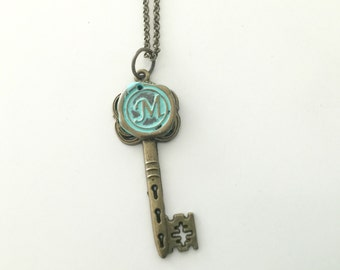 Initial Necklace - Wax Seal Necklace- key Necklace- personalized jewelry