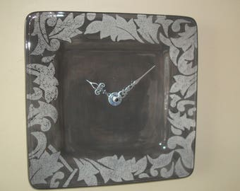 11 Inch Silver and Gray Wall Clock, Silent Ceramic Plate Clock, Scroll Leaf Pattern Clock, Unique Wall Clock, Kitchen Clock -  229