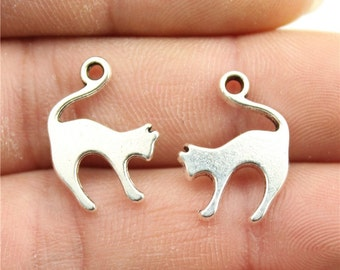 10 Cat Charms, Antique Silver Tone Charms (1B-165)