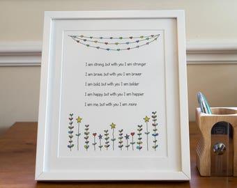 Love poem print- unframed