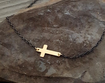 Gold Sideways Cross Necklace, 14K Gold Filled Cross, Gold Black, Black Chain, Oxidized Sterling Silver Chain, Gold Pendant, Cross Pendant