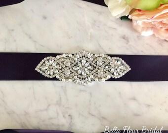 Purple Wedding Dress Sash, Rhinestone Bridal Belt, Weddings, Eggplant Purple, Crystal Pearl Sash, Bridesmaid Sash, Bridal Accessories