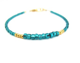 Teal Beaded Bracelet Dainty Minimal Jewelry