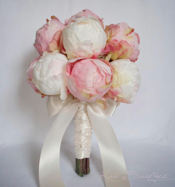 Peony Flower Bouquet Wedding: Ivory And Blush Pink Peony Bud Wedding Bouquet Peony Wedding