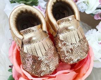 Baby Moccasins, Toddler Moccasins, Sequin Gold Moccasins, Leather Shoes, Booties, Twinkle Toe Moccasins