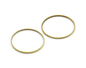 Brass Connector Rings - 20 Raw Brass Rings (22mm) A0629