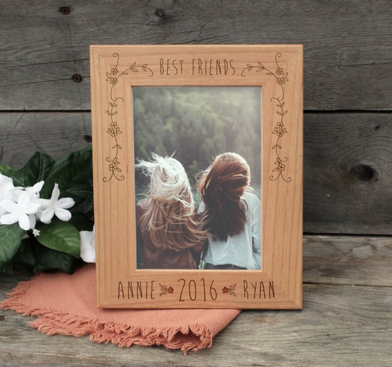 Personalize Best Friends Frame- Wood Burned Picture Frame- Custom ...