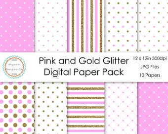 Pink and Gold Glitter Digital Paper Pack | Digital Paper, Scrapbook Paper, Printable Paper, Digital Scrapbook | Instant Download