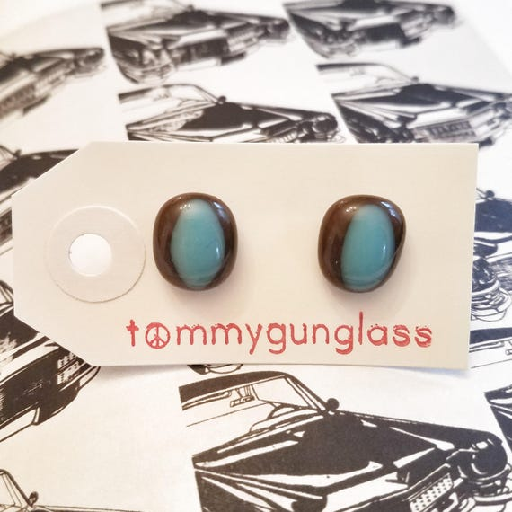 Blue and Brown Oval Glass Cufflinks
