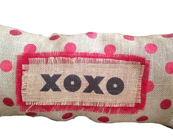 Burlap Valentines Day/XOXO Red Polka Dot Pillow