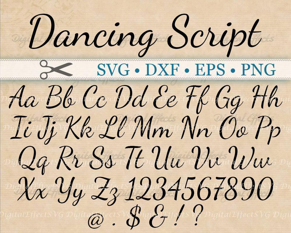 Calligraphy Fonts: Dancing Script Calligraphy Font Monogram Svg Dxf Eps Png