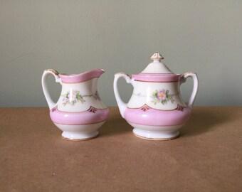 Petite Noritake Pink Porcelain Cream and Sugar Made in Japan