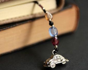 Classic Car Bookmark. Beaded Bookmark in Blue, Purple, and Peach. Handmade Bookmark. Car Lover Bookmark. Car Book Charm.