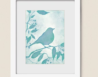 5 x 7 Aqua Blue Wall Decor, Bird Wall Art Print Turquoise Home Decor, Bird Art Print (181)
