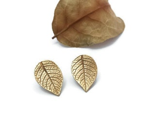 Bronze Leaf Studs, Leaf Earrings, Potato Leaves, Giant Studs, Woodland Jewelry, Nature Inspired Jewelry, Botanical Jewelry