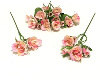 20 Tiny Pink and Cream Rose Buds- Artificial Flowers, Silk Flowers, Flower Crown, Halo, Wedding Flowers, Hair Accessories, Millinery, Wreath