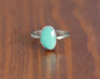 Carico Lake Turquoise Ring, Sterling Silver Ring - Size US 6